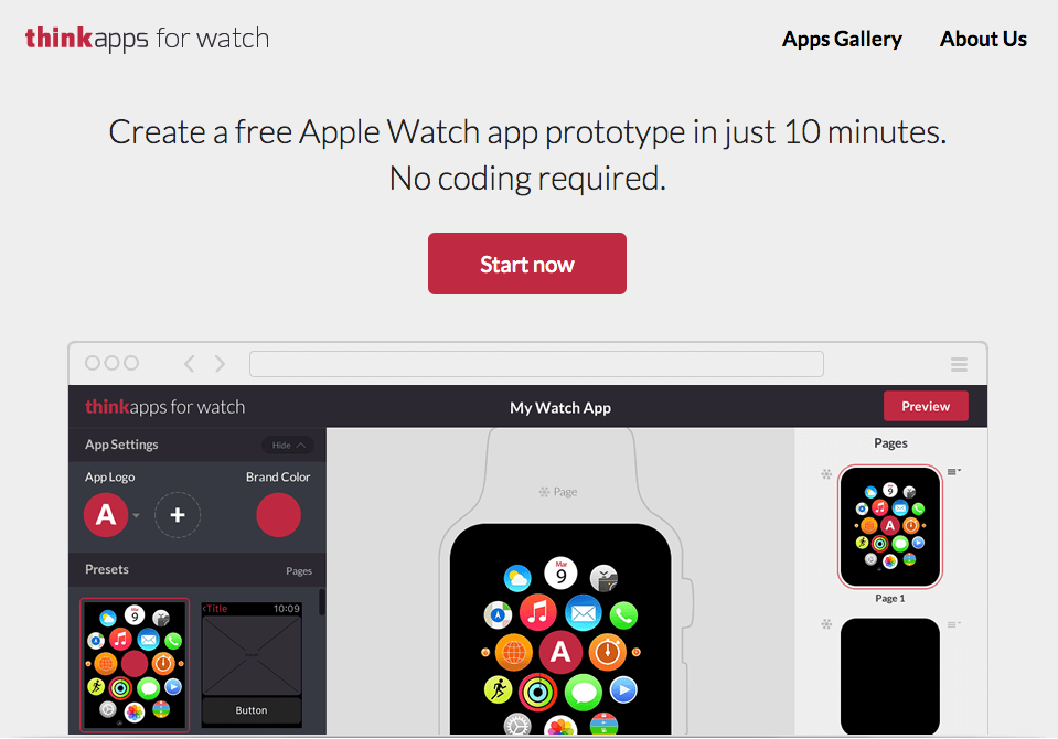 ThinkApps for Watch landing page