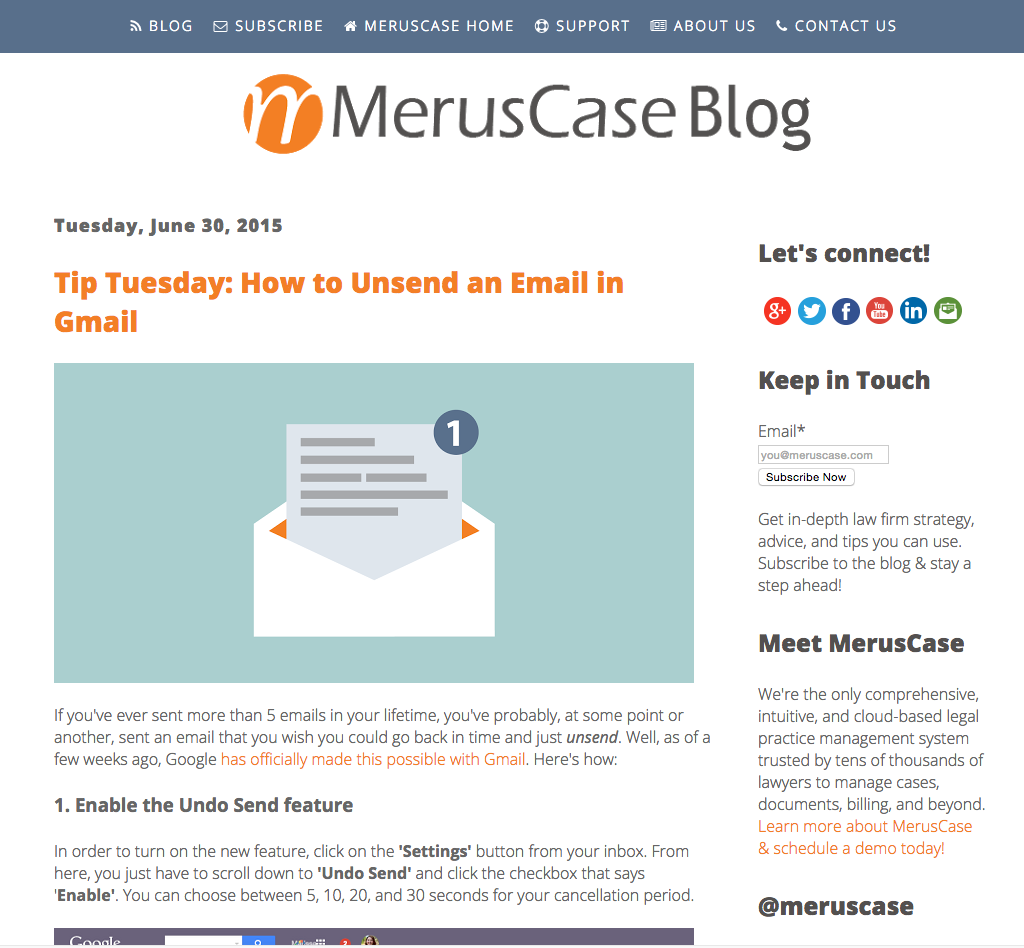 B2B Content Marketing - MerusCase blog post example