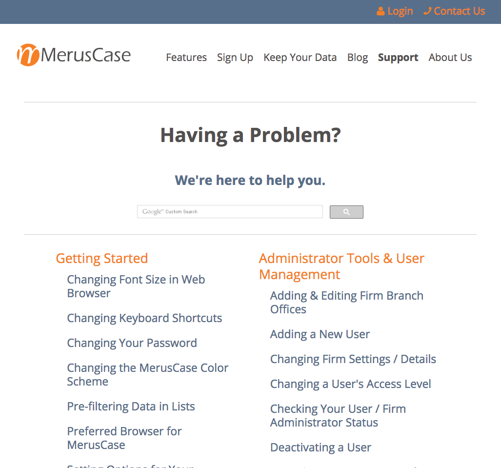 B2B Content Marketing - MerusCase Knowledge Base Support Example