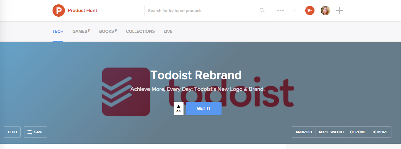 Product Hunt - Todoist Rebrand