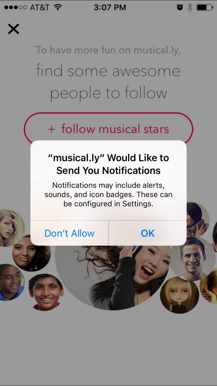 Mobile App Notifications - Example of Musical.ly