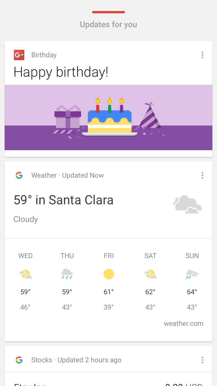 Mobile App Notifications - Example of Google Now