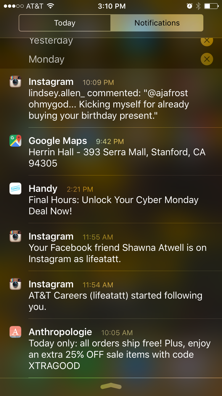 Mobile App Notifications - Example of Homescreen