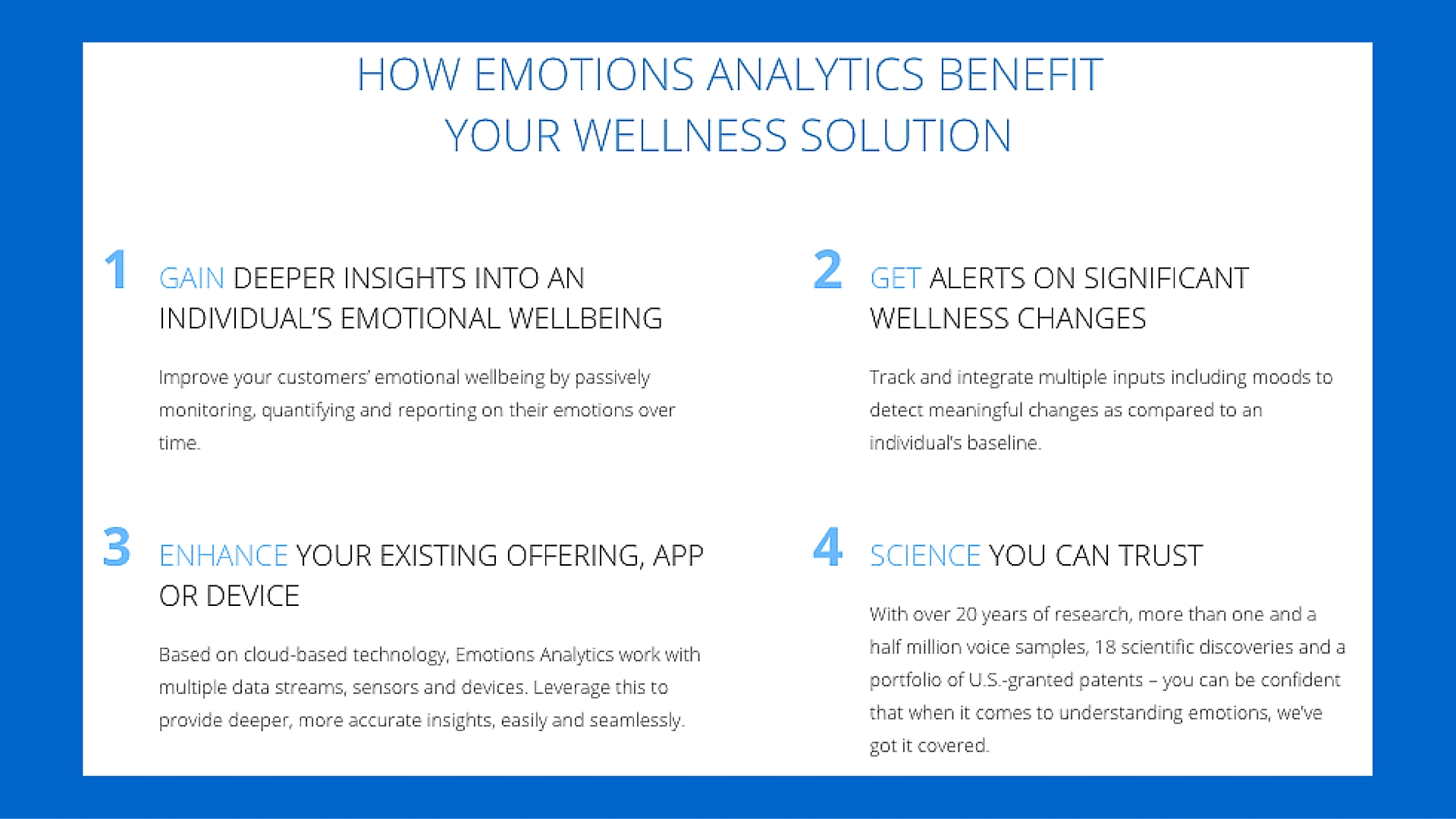 Machine Intelligence Beyond Verbal: Wellness Benefits