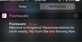 Foursquare notification