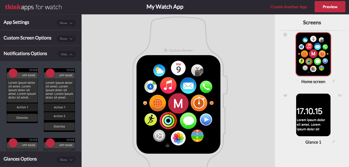 ThinkApps for Watch: A Design Tool for Apple Watch Apps